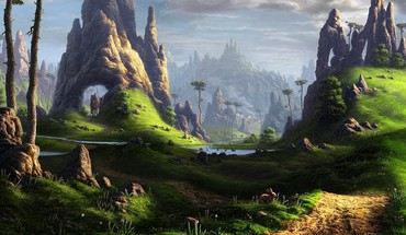 Landscapes valley fantasy art artwork HD wallpaper