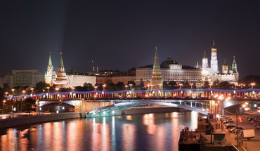 Moscow cityscapes lights night HD wallpaper