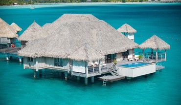 Water bungalow bora st regis hotel HD wallpaper