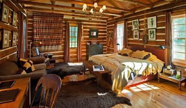 Log cabin bedroom suite HD wallpaper