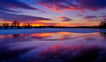 Colors of a winter sunset HD wallpaper