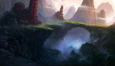 Mountains landscapes fantasy art digital artwork portuguese HD wallpaper
