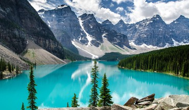 Nature trees forest canada alberta lakes turquoise HD wallpaper