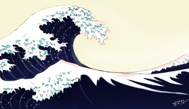 Great wave off kanagawa artwork blue ocean HD wallpaper