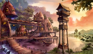 Fantasy village HD wallpaper