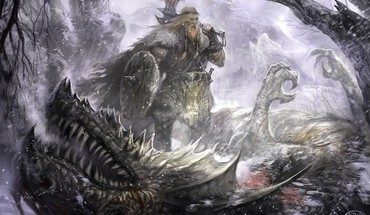 Dragons vikings fantasy art concept warriors HD wallpaper