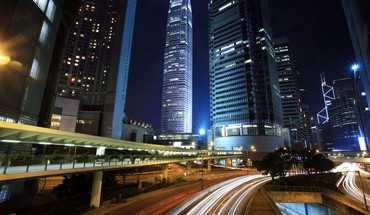 Night landscapes roads skyscrapers HD wallpaper