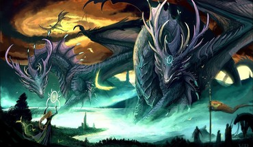 Dragon vs human war HD wallpaper