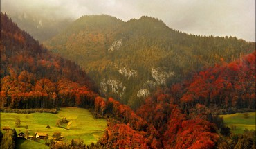 Mountains landscapes trees autumn forests fog HD wallpaper
