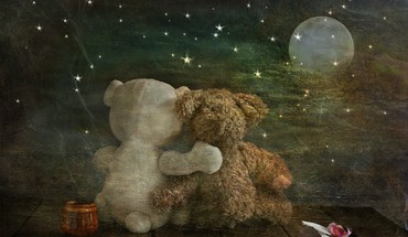 Romantic teddy bears HD wallpaper