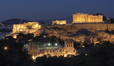 Night greece athens acropolis parthenon HD wallpaper
