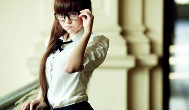 Women glasses asians HD wallpaper