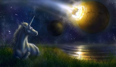 Unicorn at night HD wallpaper