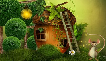 Happy mouse house HD wallpaper