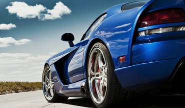 Dodge viper blue cars lowangle shot vehicles HD wallpaper