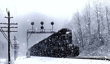 Freight train in winter HD wallpaper
