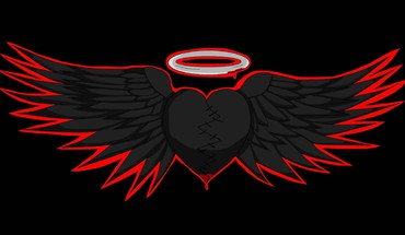 Black hearted angel wings HD wallpaper