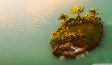 Nature trees islands tilt-shift palm sea HD wallpaper