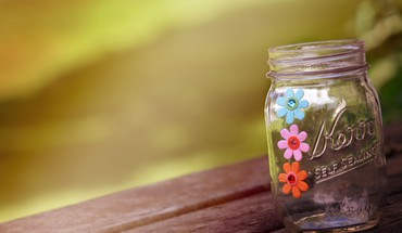 Jar and flowers HD wallpaper