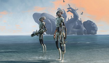 Aliens android beaches birds clouds HD wallpaper