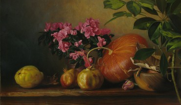 Still life with pumpkin HD wallpaper