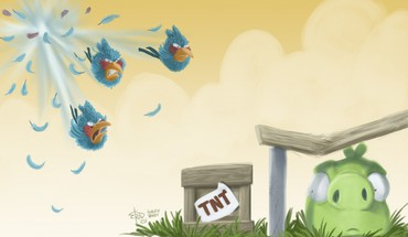 Blue angry birds HD wallpaper