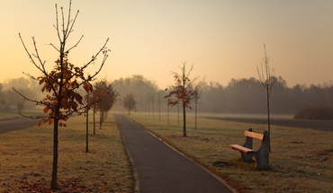 Hungary bench morning walkway HD wallpaper