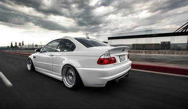 White cars motion blur bmw m3 races HD wallpaper