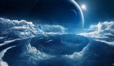 Stars flying planets moon nebulae prometheus spaceships HD wallpaper