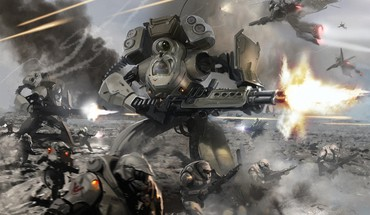 Fantasy guns explosions warfare mech sci-fi action HD wallpaper