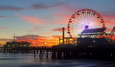 Sunset pier california santa monica HD wallpaper