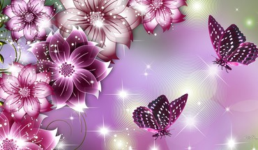 Flower butterfly beauties HD wallpaper