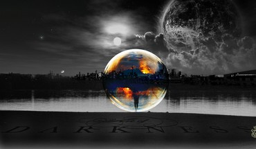 Sun cityscapes planets moon bubbles lakes selective coloring HD wallpaper