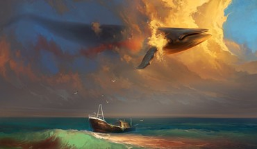 Flying fantasy art whales HD wallpaper