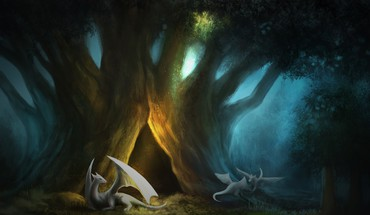 Fantasy paintings trees dragons artwork forest HD wallpaper