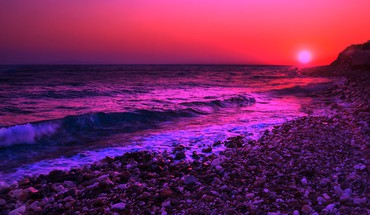 Purple sunset over the sea HD wallpaper
