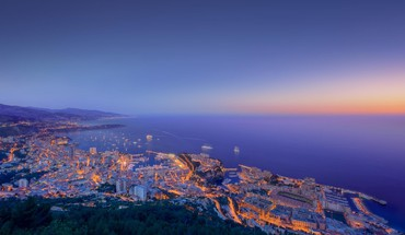 Beautiful coastal sunset of monaco HD wallpaper