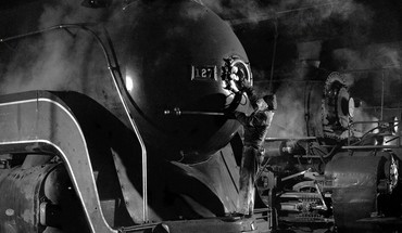 Men monochrome old photography repairing steam locomotives HD wallpaper