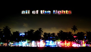 Trees cityscapes night lights multicolor silhouette miami street HD wallpaper