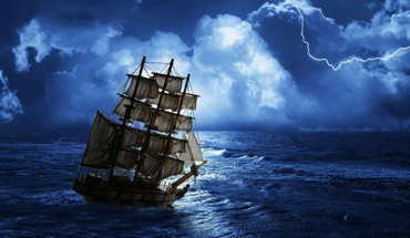 Ocean clouds storm fantasy art sailing skyscapes ships HD wallpaper