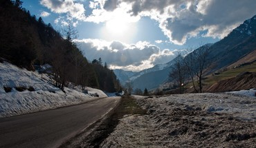 Landscapes winter roads HD wallpaper