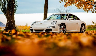 Autumn white porsche 911 HD wallpaper