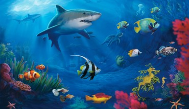 Tropical fish cartoon HD wallpaper