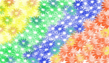 Abstract multicolor flowers daisy digital art HD wallpaper