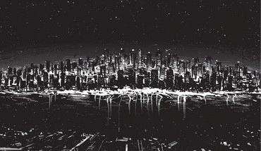 Black and white cityscapes digital art drawings HD wallpaper