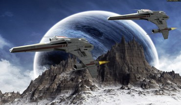 Planets spaceships science fiction sci-fi HD wallpaper