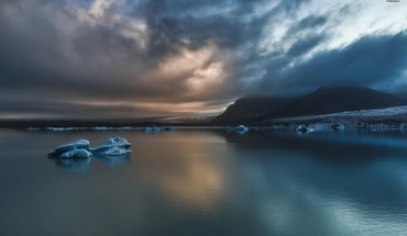 Water mountains clouds icebergs hdr photography skies HD wallpaper
