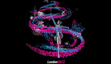 Black background typographic portrait gymnastics london 2012 HD wallpaper