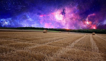 Outer space fields gothic photo manipulation HD wallpaper