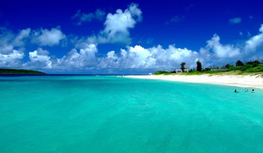 Japan blue ocean clouds landscapes nature beach sea HD wallpaper